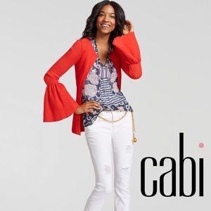 Cabi #5349 Paisley Stripe Semi Sheer Top 10C